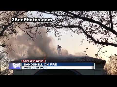 Fire at Gene Harris Bandshell in Julia Davis Park