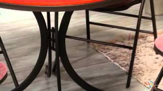Innobella Destiny 38 In. Round Mission Rosso Folding Table With Chairs - Product Review Video