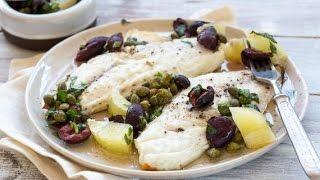 Сибас в духовке.Сибас с маслинами, каперсами и лимоном