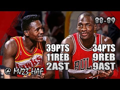 Michael Jordan vs Dominique Wilkins Highlights vs Hawks (1988.11.18)-73pts Combine, EPIC BATTLE!