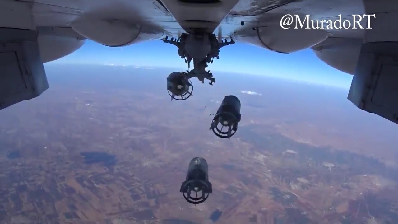 Su-24M dropping its payload on Islamist position in Syria @MuradoRT