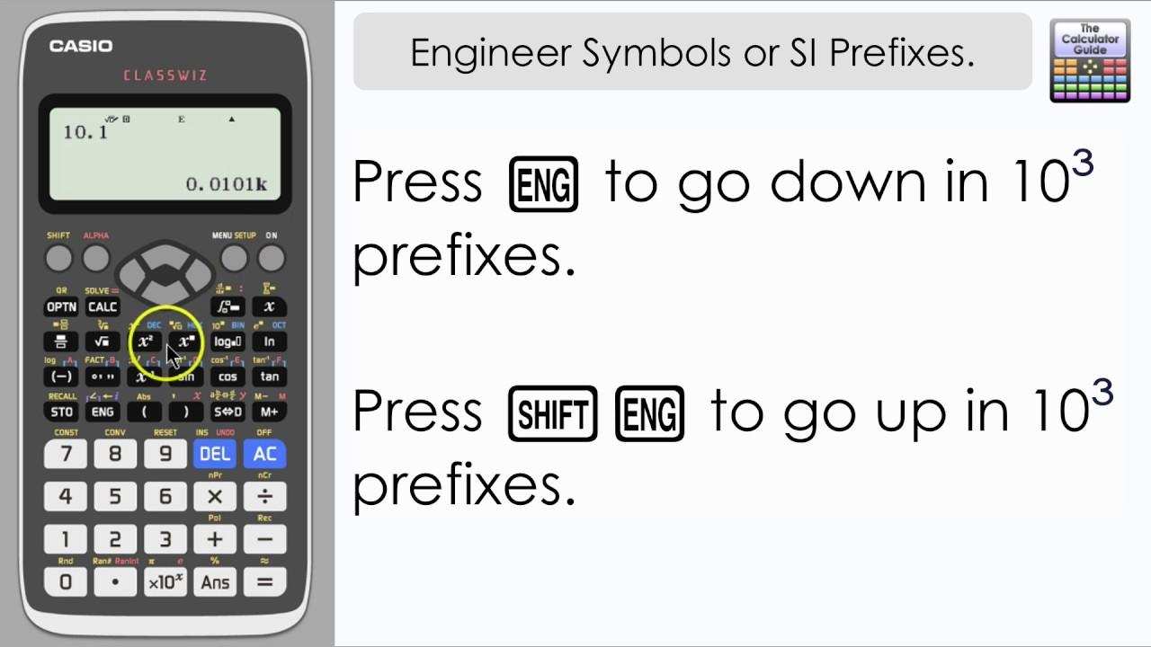 Engineer Symbols Or Si Prefixes On Casio Classwiz Switching