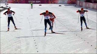 Финиш Легков, Вылегжанин, Черноусов в лыжном марафоне 50км в СОЧИ 2014