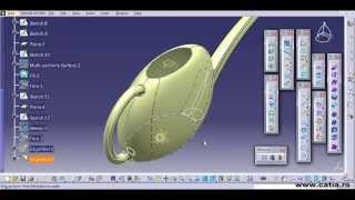 CATIA v5 surface tutorial for a watering can