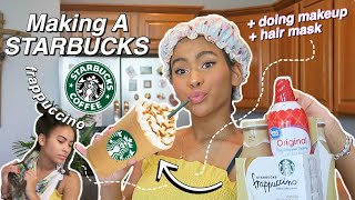 Making STARBUCKS at HOME While Doing A HAIR MASK My Makeup