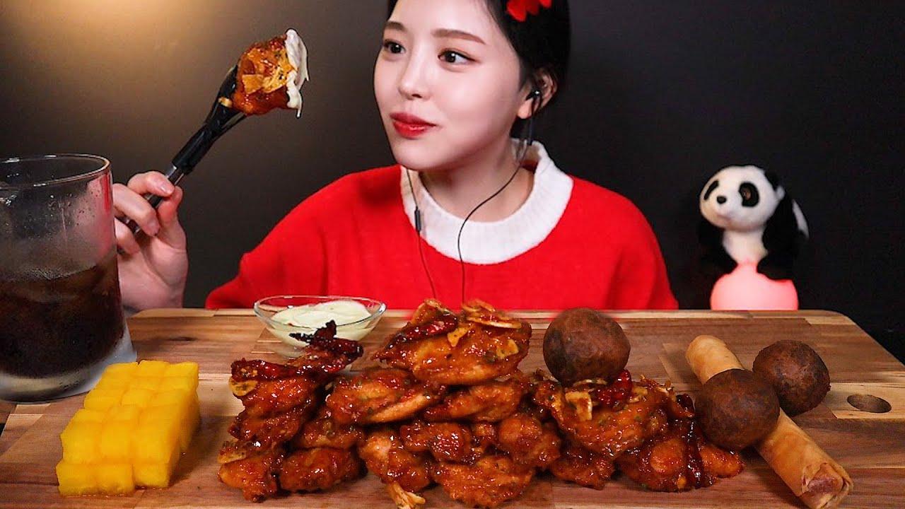 SUB[광고]푸라닭 신메뉴 순살 더 차이나 먹방 빅치즈스틱에 블랙치즈볼까지 리얼사운드 Chicken MUKBANG ASMR