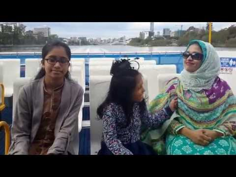 Brisbane City Cat ferry trip, Brisbane, australia, July 2016, Hridita and Adrita