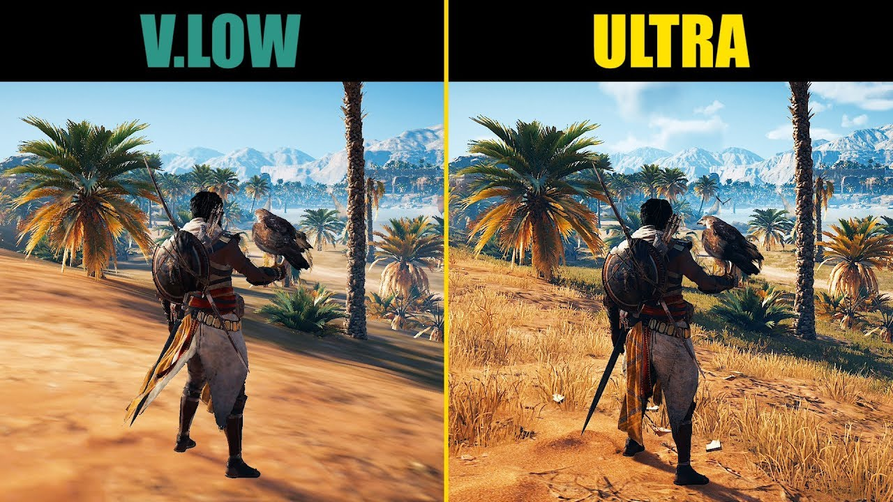 Assassin S Creed Origins Very Low Vs Ultra High Graphics