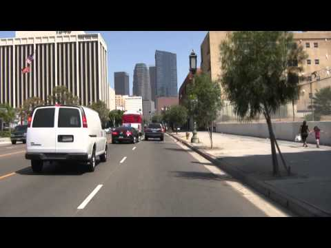 Downtown Los Angeles far away and close unique View ( HD ) & Tour Be a passenger in my car
