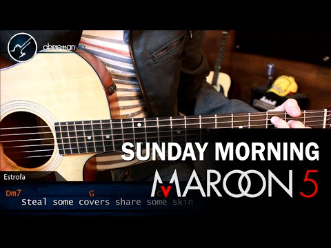 Como tocar Sunday Morning MAROON 5 en Guitarra PRINCIPIANTES | Guitarra Tutorial Acordes Riff