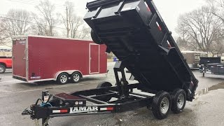 Lamar DL14 7x14' 14000# GVW Low Profile Hydraulic Dump Trailer DL831427