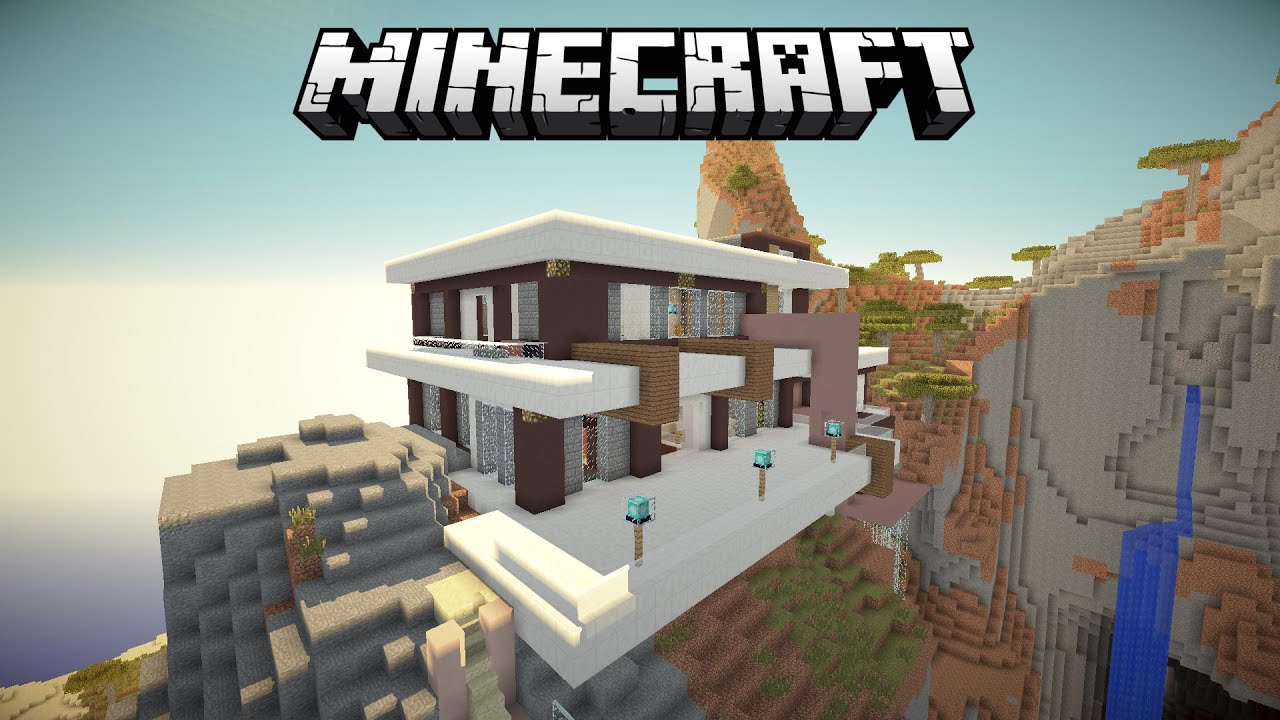 Amazing minecraft modern house on a mountain
