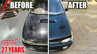 homepage tile video photo for Rare Subaru STI gets first paint correction in 27 YEARS...
