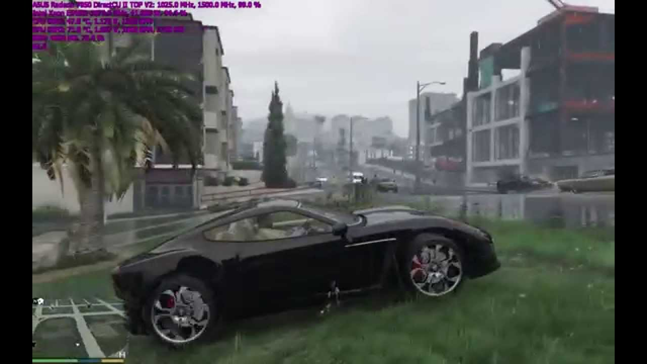 GTA 5 on Intel Xeon E5450 (3.87GHz) + ASUS Radeon 7950 DirectCU II TOP V2 (1025/6000MHz)