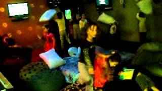 Playtown Cafe Winter Wonderland pillow fight!