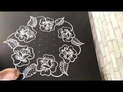 Beautiful roses...simple rangoli.for New year..margazhi..Easy rangoli designs...9 to 5 dots...