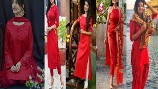 #2020 #Red Kurtis #Red Dresses Designs #Red Colour Contrast Suits||#sbleo