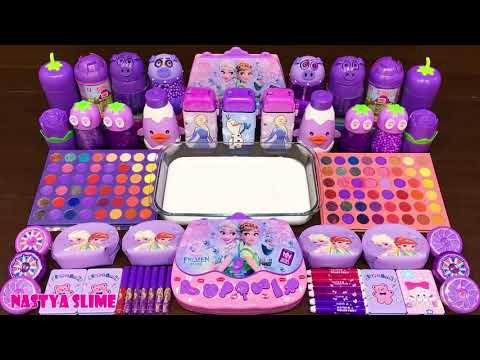 PURPLE+FROZEN!+Mixing+Random+into+GLOSSY+Slime+!+Satisfying+Slime+Video+#391