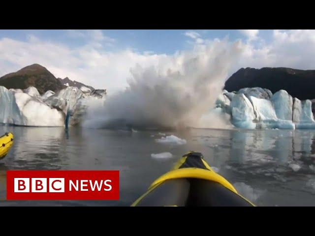 'We survived!' Collapsing glacier soaks kayakers - BBC News