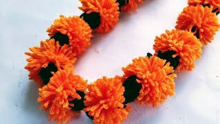 Marigold garland / Making wool toran / Making marigold wool flowers maala