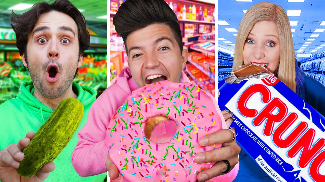 Download Eating ONE COLOR Gas Station Food for 24 Hours!