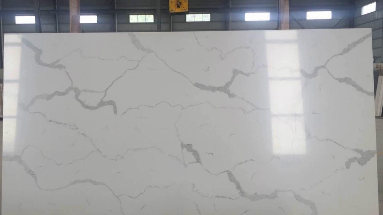 Calacatta White Quartz Slabs Prefabs Countertops Youtube