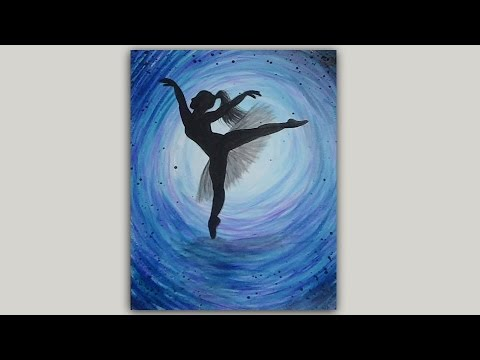 Ballerina silhouette acrylic painting youtube for How paint on canvas