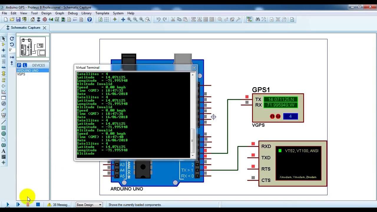Arduino with GPS module Proteus simulation