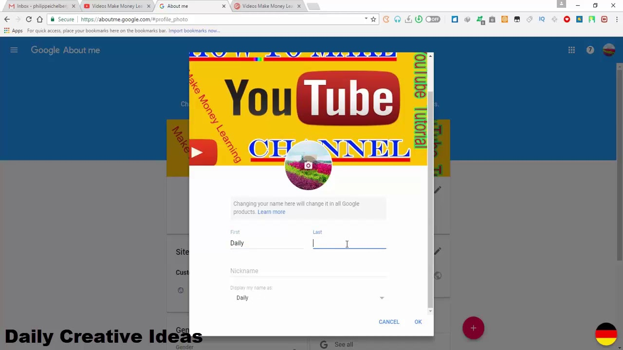 How to change YouTube Custom Url and YouTube Channel Name, YouTube Earning  Money Tutorial 2018