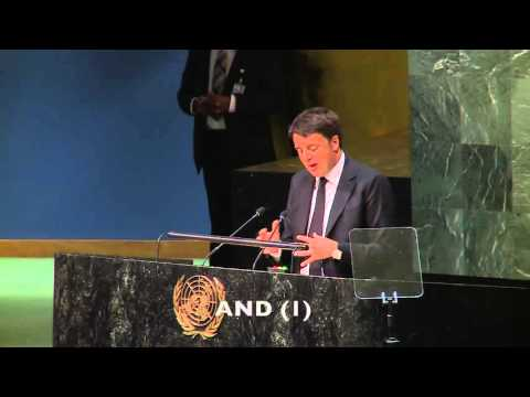 Renzi speaking english at the United Nations