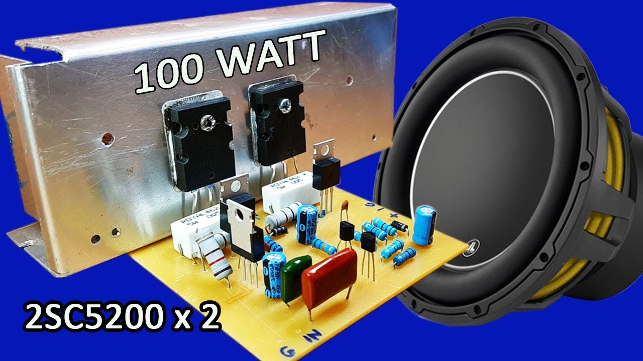 hight resolution of how to make mono 100w amplifier using transistors 2sc5200 x 2 at home