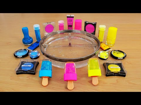 Neon Pink vs Blue vs Yellow Mixing Makeup Eyeshadow Into Slime! Satisfying Slime Video