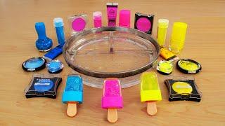 Neon Pink vs Blue vs Yellow Mixing Makeup Eyeshadow Into Slime! Satisfying Slime Video