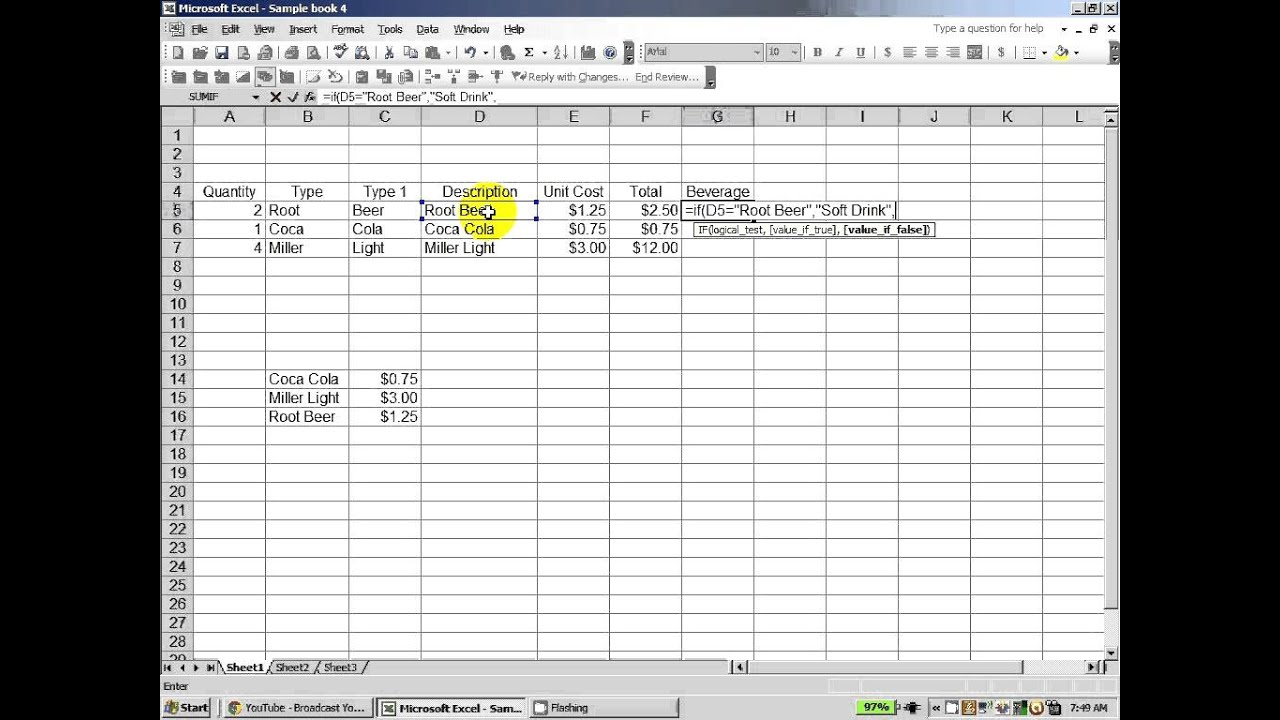 how to cancel statements excel