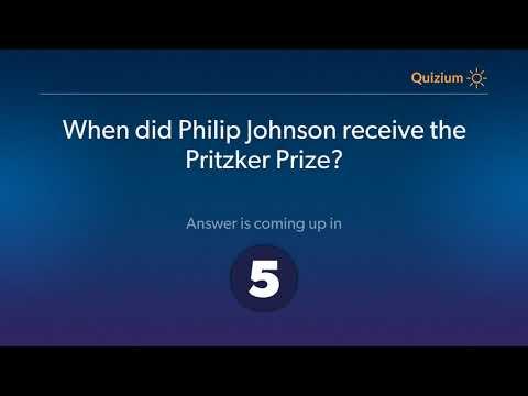 When did Philip Johnson receive the Pritzker Prize?   Philip Johnson Quiz
