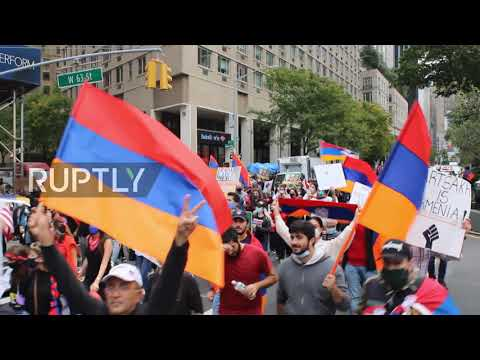 USA: Hundreds march in pro-Armenia rally in NYC as ceasefire in Nagorno-Karabakh begins