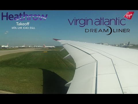 Virgin Atlantic Boeing 787 Dreamliner Taxi & Takeoff London Heathrow