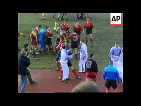BOSNIA: SARAJEVO: FRIENDLY RUGBY MATCH ENDS IN FIST FIGHT