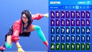 ROX PINK/TEAL STAGE 1 SKIN SHOWCASE WITH ALL FORTNITE DANCES & EMOTES