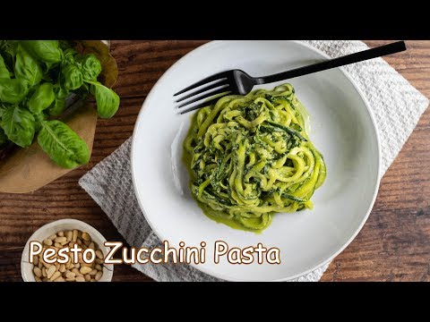 Homemade Zucchini Noodles with Basil Pesto
