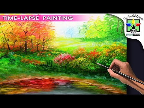 ACRYLIC PAINTING LESSON Basic LANDSCAPE with Lake and Autumn Trees | EASY ART TUTORIAL FOR BEGINNERS