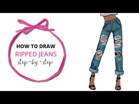 How to Draw Ripped Jeans Tutorial - STEP BY STEP