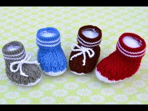 How To Knit Mock Cables Boot Style Baby Booties Part 3 Youtube