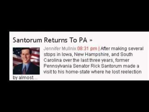 Election News - Santorum Returns To PA