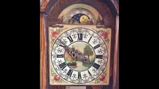 Vintage Dutch Warmink Schippertje 8 Day Oak Wall Clock With Moon Phase.