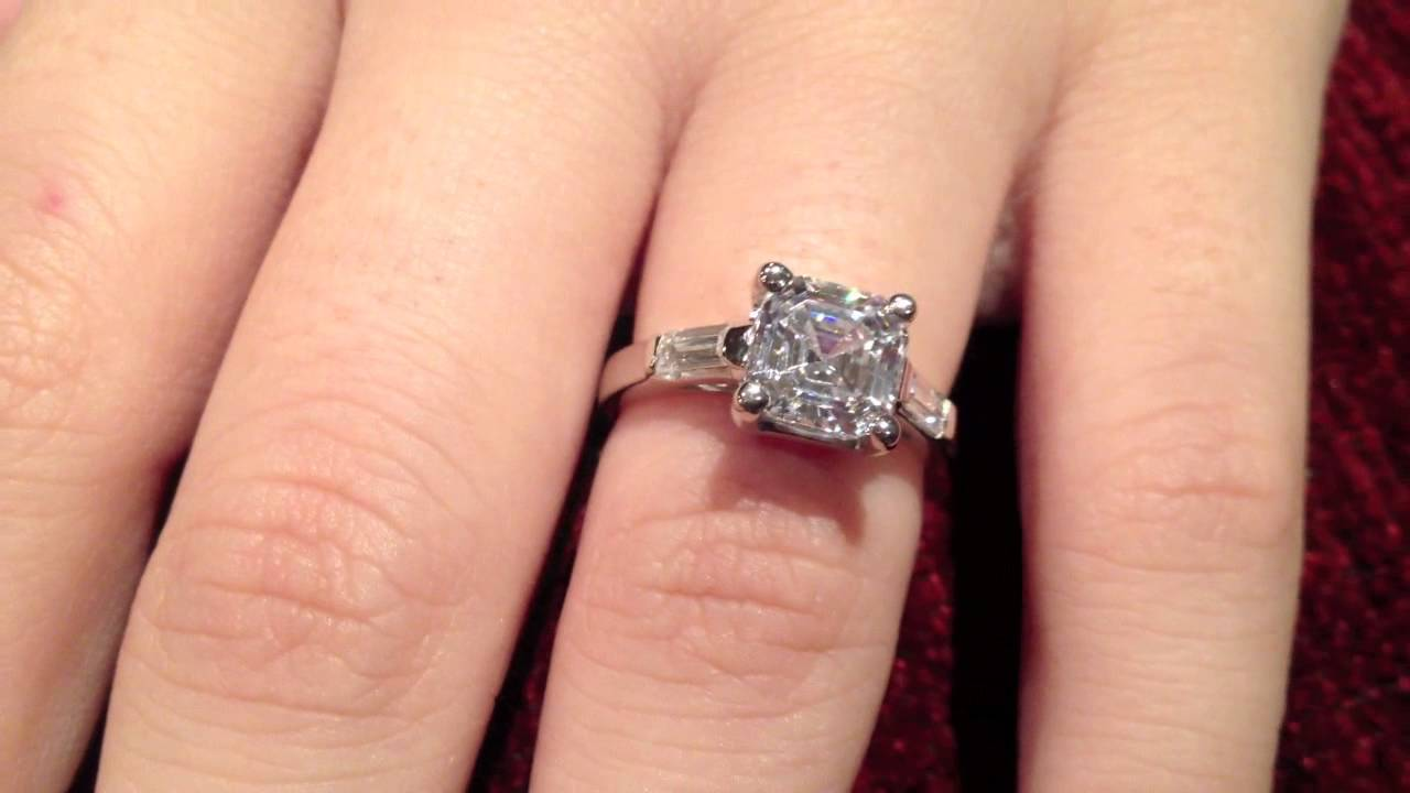 Engagement Ring With High Quality Asscher Cut Cz Item P527 P6146