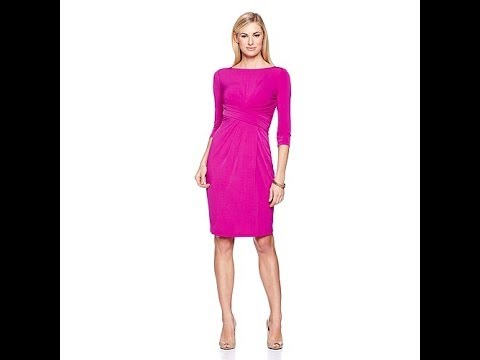 DAVID David Meister 3/4Sleeve Jersey Dress