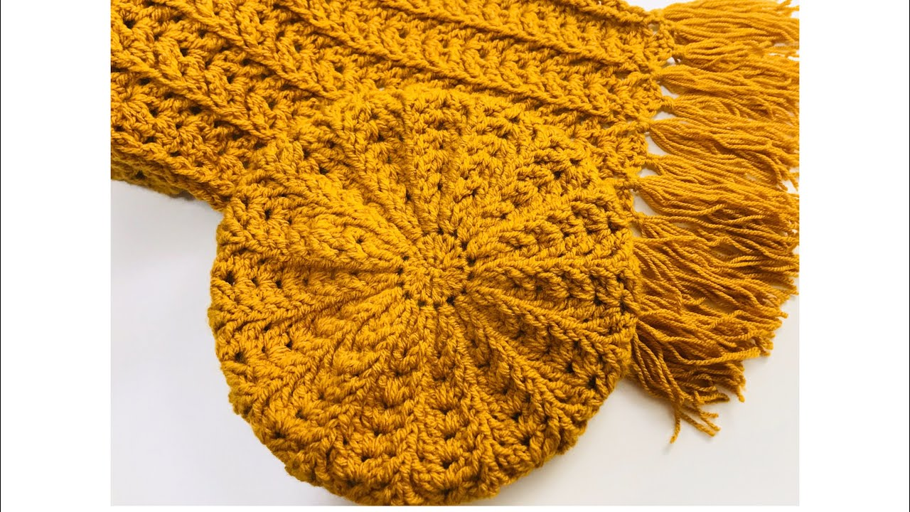 EASY CROCHET HAT AND SCARF FOR ADULTS, CROCHET FERN STITCH, CROCHET FOR BABY,  LEFT HAND VERSION