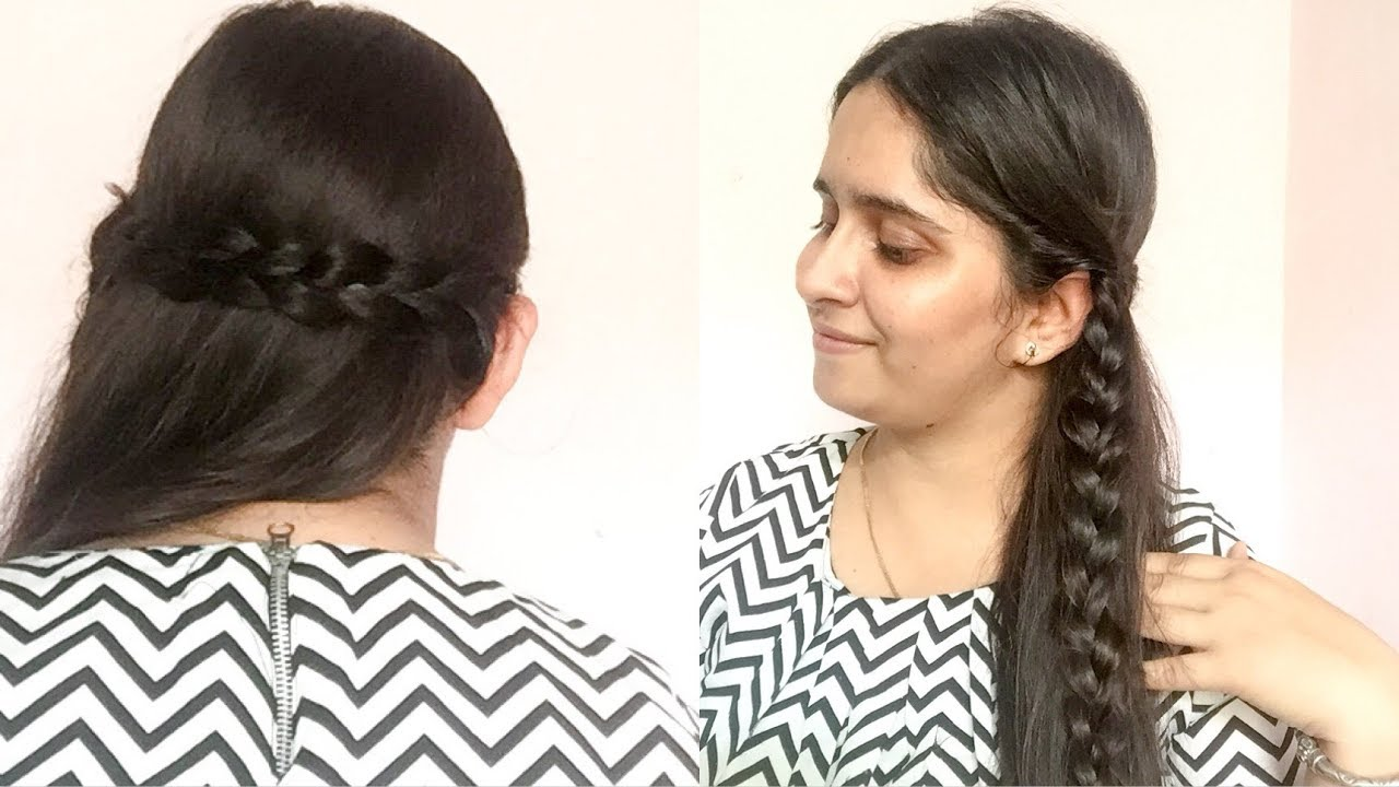 Side Swept 3 Strand Braid Hairstyle For Lehenga Saree Gown