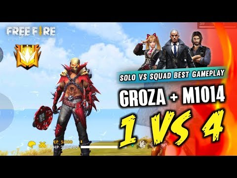 Groza + ShotGun(M1014) Solo Vs Squad Best Gameplay - Garena Free Fire- Total Gaming